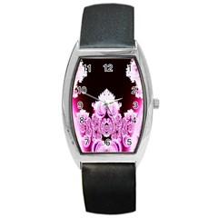 Fractal In Pink Lovely Barrel Style Metal Watch