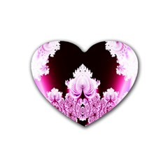 Fractal In Pink Lovely Heart Coaster (4 Pack)