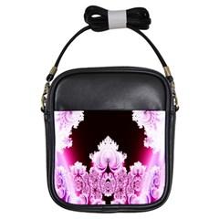 Fractal In Pink Lovely Girls Sling Bags