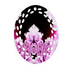 Fractal In Pink Lovely Oval Filigree Ornament (Two Sides)