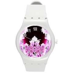 Fractal In Pink Lovely Round Plastic Sport Watch (M)