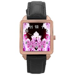 Fractal In Pink Lovely Rose Gold Leather Watch