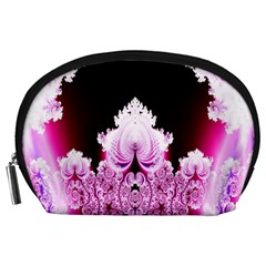 Fractal In Pink Lovely Accessory Pouches (Large)