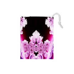 Fractal In Pink Lovely Drawstring Pouches (Small)