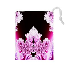 Fractal In Pink Lovely Drawstring Pouches (large)