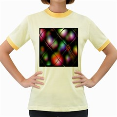 Soft Balls In Color Behind Glass Tile Women s Fitted Ringer T Shirts