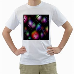 Soft Balls In Color Behind Glass Tile Men s T-Shirt (White) (Two Sided)