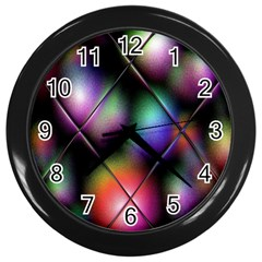 Soft Balls In Color Behind Glass Tile Wall Clocks (Black)