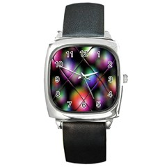 Soft Balls In Color Behind Glass Tile Square Metal Watch
