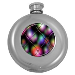 Soft Balls In Color Behind Glass Tile Round Hip Flask (5 oz)