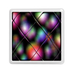 Soft Balls In Color Behind Glass Tile Memory Card Reader (square)