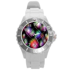 Soft Balls In Color Behind Glass Tile Round Plastic Sport Watch (l)