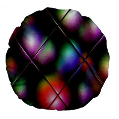Soft Balls In Color Behind Glass Tile Large 18  Premium Round Cushions
