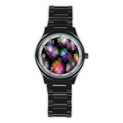 Soft Balls In Color Behind Glass Tile Stainless Steel Round Watch