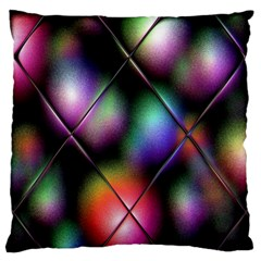 Soft Balls In Color Behind Glass Tile Large Flano Cushion Case (One Side)