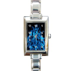 Digitally Created Blue Flames Of Fire Rectangle Italian Charm Watch