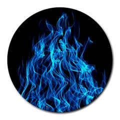 Digitally Created Blue Flames Of Fire Round Mousepads