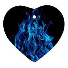 Digitally Created Blue Flames Of Fire Ornament (Heart)