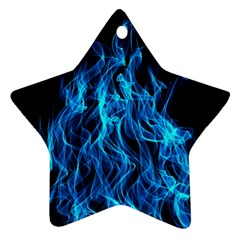 Digitally Created Blue Flames Of Fire Ornament (star)