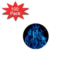 Digitally Created Blue Flames Of Fire 1  Mini Buttons (100 Pack)