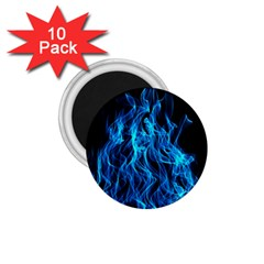 Digitally Created Blue Flames Of Fire 1 75  Magnets (10 Pack)