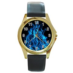 Digitally Created Blue Flames Of Fire Round Gold Metal Watch