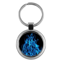 Digitally Created Blue Flames Of Fire Key Chains (round)