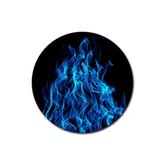 Digitally Created Blue Flames Of Fire Rubber Coaster (round)