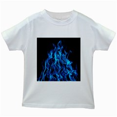 Digitally Created Blue Flames Of Fire Kids White T-Shirts