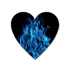 Digitally Created Blue Flames Of Fire Heart Magnet