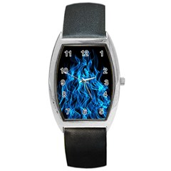 Digitally Created Blue Flames Of Fire Barrel Style Metal Watch