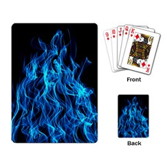 Digitally Created Blue Flames Of Fire Playing Card
