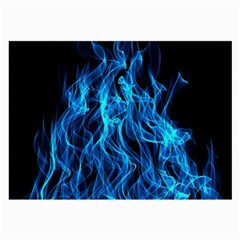 Digitally Created Blue Flames Of Fire Large Glasses Cloth