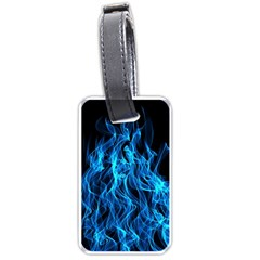 Digitally Created Blue Flames Of Fire Luggage Tags (two Sides)