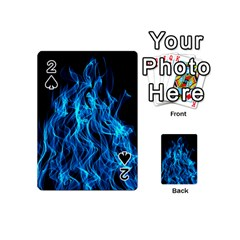 Digitally Created Blue Flames Of Fire Playing Cards 54 (mini)