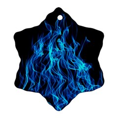 Digitally Created Blue Flames Of Fire Ornament (Snowflake)