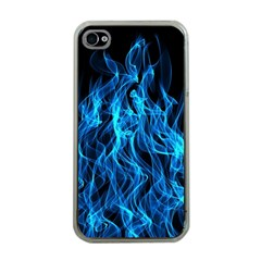Digitally Created Blue Flames Of Fire Apple iPhone 4 Case (Clear)