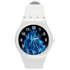 Digitally Created Blue Flames Of Fire Round Plastic Sport Watch (M)