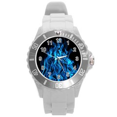 Digitally Created Blue Flames Of Fire Round Plastic Sport Watch (L)
