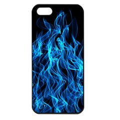 Digitally Created Blue Flames Of Fire Apple iPhone 5 Seamless Case (Black)