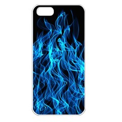 Digitally Created Blue Flames Of Fire Apple Iphone 5 Seamless Case (white)