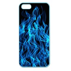Digitally Created Blue Flames Of Fire Apple Seamless iPhone 5 Case (Color)