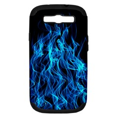 Digitally Created Blue Flames Of Fire Samsung Galaxy S III Hardshell Case (PC+Silicone)