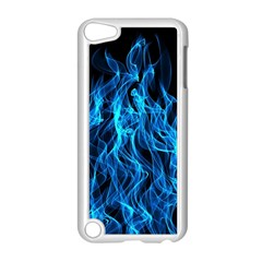 Digitally Created Blue Flames Of Fire Apple Ipod Touch 5 Case (white)