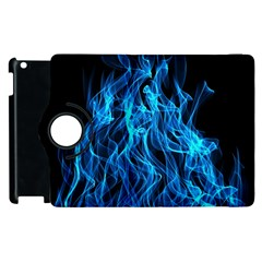 Digitally Created Blue Flames Of Fire Apple iPad 2 Flip 360 Case