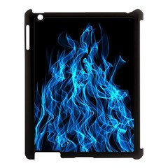 Digitally Created Blue Flames Of Fire Apple iPad 3/4 Case (Black)