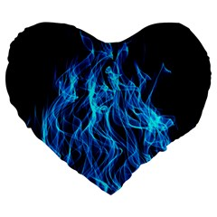 Digitally Created Blue Flames Of Fire Large 19  Premium Heart Shape Cushions