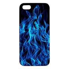 Digitally Created Blue Flames Of Fire Apple Iphone 5 Premium Hardshell Case