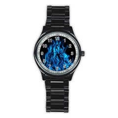 Digitally Created Blue Flames Of Fire Stainless Steel Round Watch
