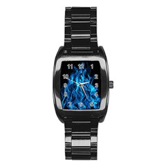 Digitally Created Blue Flames Of Fire Stainless Steel Barrel Watch